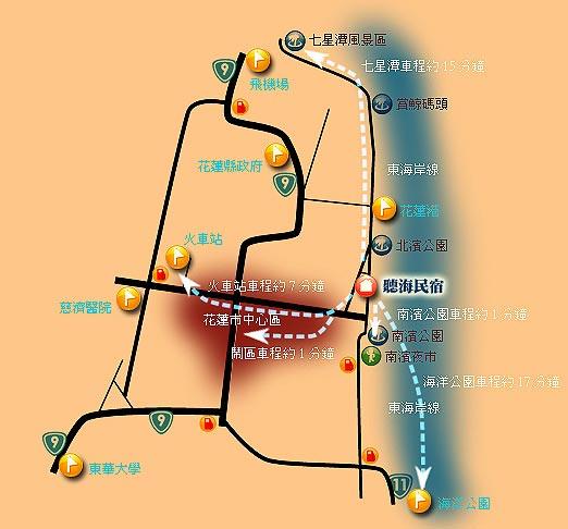 听海民宿(花莲县)地图