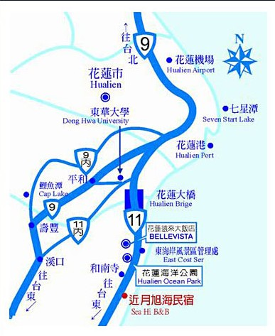 近月旭海民宿(花莲县)地图