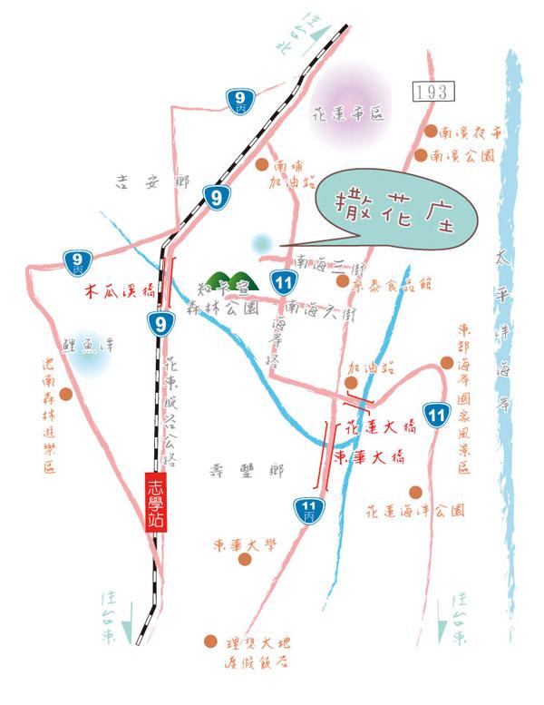 撒花庄庭园民宿(花莲县)地图